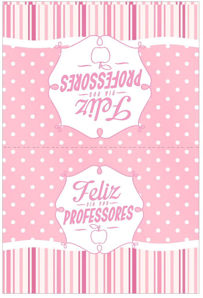 Cartão Agradecimento Dia dos Professores Corujinha Rosa