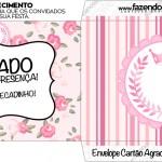 Cartão Agradecimento Envelope Coroa de Princesa Rosa Floral