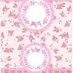 Cartão Agradecimento de Mesa Coroa de Princesa Rosa Floral