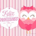 Cartão Dia dos Professores Coruja Rosa