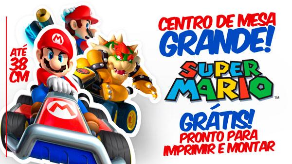Centro de Mesa Mario Kart Grátis para Imprimir