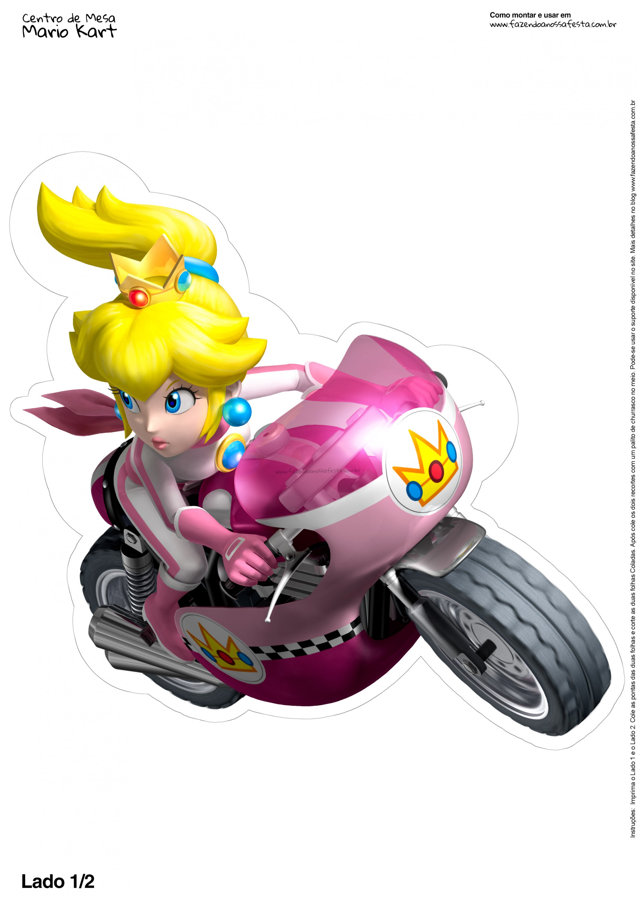 centro de mesa mario kart peach 1 2 fazendo a nossa festa. Black Bedroom Furniture Sets. Home Design Ideas