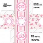 Convite Caixa Tampa Coroa de Princesa Rosa Floral