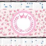 Convite Calendário 2015 2 Coroa de Princesa Rosa Floral