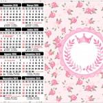 Convite Calendário 2015 Coroa de Princesa Rosa Floral