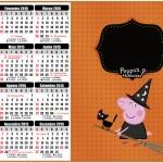 Convite Calendário 2015 Peppa Pig Halloween