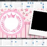 Convite Calendário 2015 com foto Coroa de Princesa Rosa Floral