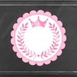 Convite Chalkboard Coroa de Princesa Rosa Floral