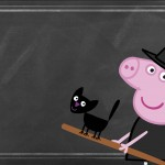 Convite Chalkboard Festa Peppa Pig Halloween
