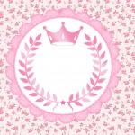 Convite Coroa de Princesa Rosa Floral