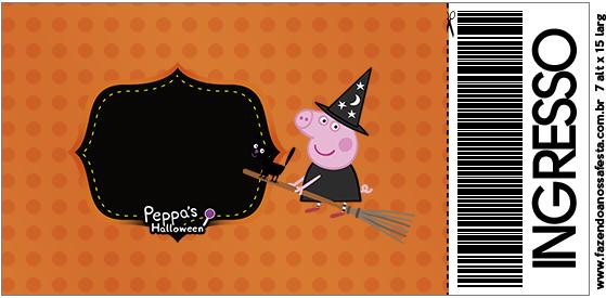 Convite Ingresso Peppa Pig Halloween
