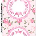 Convite Pirulito Coroa de Princesa Rosa Floral