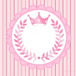 Convite ou Moldura Coroa de Princesa Rosa Floral