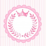 Convite ou Moldura para festa Coroa de Princesa Rosa Floral