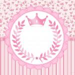 Convite para Festa Coroa de Princesa Rosa Floral