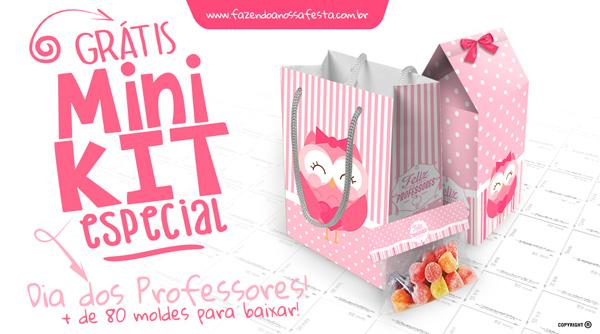Kit Dia dos Professores Corujinha Rosa Gratis
