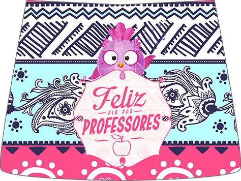 Molde Esmalte Risque 2 Dia Dos Professores Coruja Rosa e Azul
