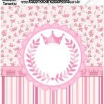 Molde Quadrado Qualquer tamanho Coroa de Princesa Rosa Floral
