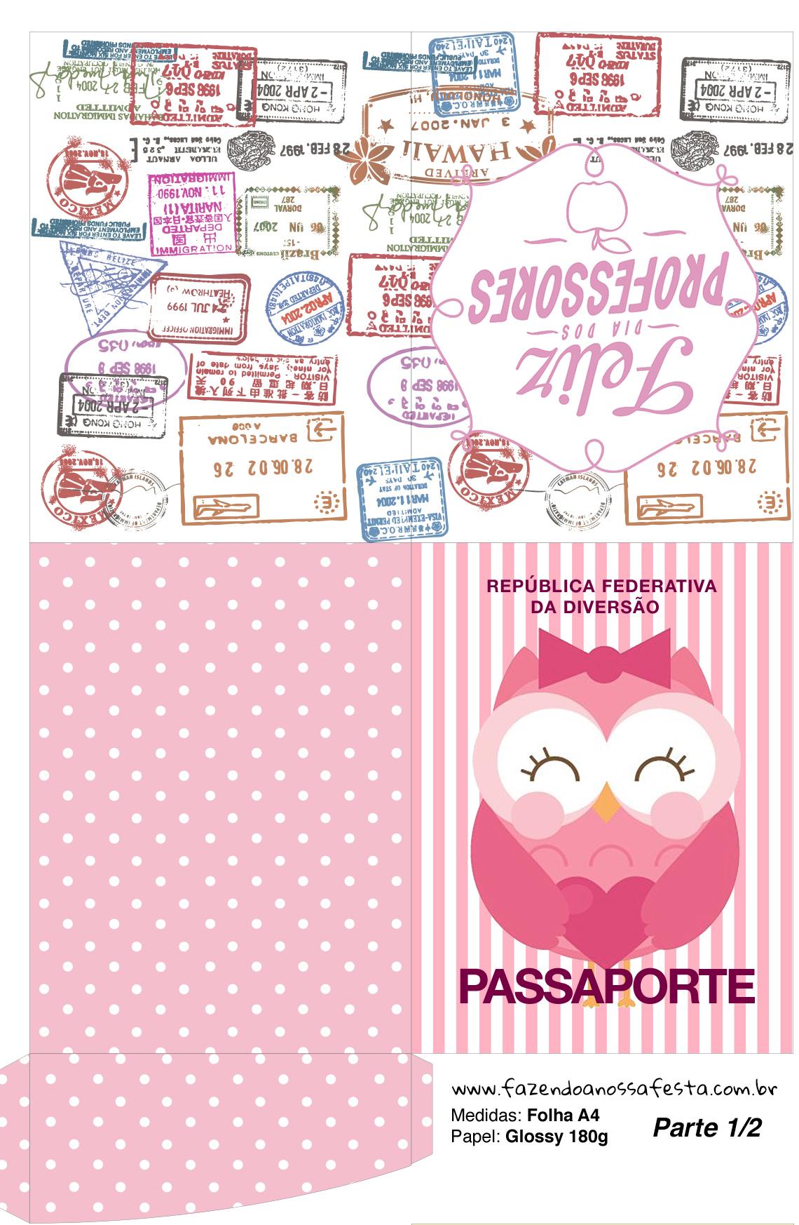 Passaporte Dia dos Professores Corujinha Rosa