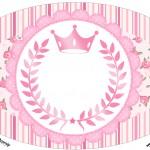 Placa Elipse Coroa de Princesa Rosa Floral