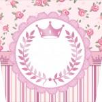 Rótulo Balde de Pipoca Coroa de Princesa Rosa Floral