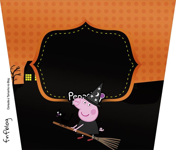 Rótulo Balde de Pipoca Peppa Pig Halloween