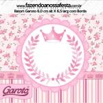 Rótulo Baton Garoto Coroa de Princesa Rosa Floral
