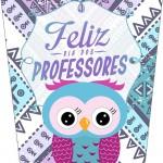 Rótulo Bisnaga Flip Top Dia Dos Professores Coruja Roxa e Azul