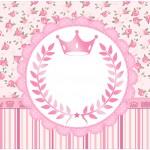 Rótulo Bolinha de Sabão Coroa de Princesa Rosa Floral