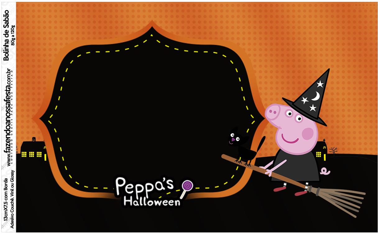 Rótulo Bolinha de Sabão Peppa Pig Halloween