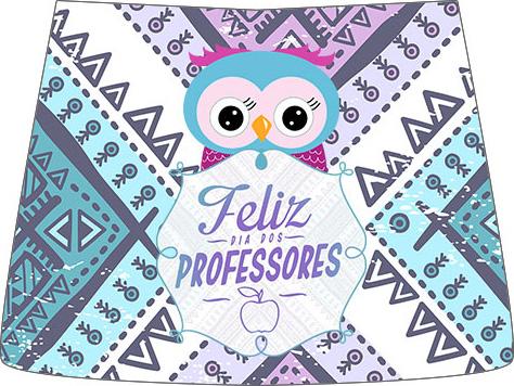 Rótulo Esmalte Risque 3 Dia Dos Professores Coruja Roxa e Azul