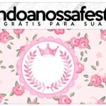 Rótulo Lápis Coroa de Princesa Rosa Floral