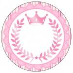 Rótulo Latinhas e Toppers para Doces Coroa de Princesa Rosa Floral