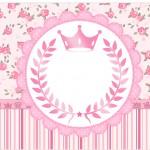 Rótulo Marmita Pequena Coroa de Princesa Rosa Floral