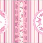 Rótulo Mini Talento Coroa de Princesa Rosa Floral