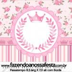 Rótulo Passatempo Coroa de Princesa Rosa Floral