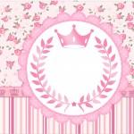 Rótulo Tubetes Coroa de Princesa Rosa Floral