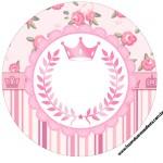 Rótulo para Tubetes, Toppers e Latinhas Coroa de Princesa Rosa Floral