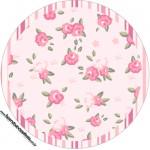 Rótulo para docinhos, toppers e latinhas Coroa de Princesa Rosa Floral