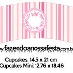 Saias Wrappers para Cupcakes 2 Coroa de Princesa Rosa Floral