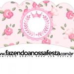 Saias Wrappers para Cupcakes Coroa de Princesa Rosa Floral