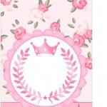 Tag Agradecimento Coroa de Princesa Rosa Floral