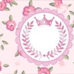 Tag pequena Coroa de Princesa Rosa Floral