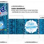 Caixa Bis Quadrada Dia dos Professores Coruja Azul