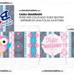 Caixa Bis Quadrada Dia dos Professores Rosa e Cinza