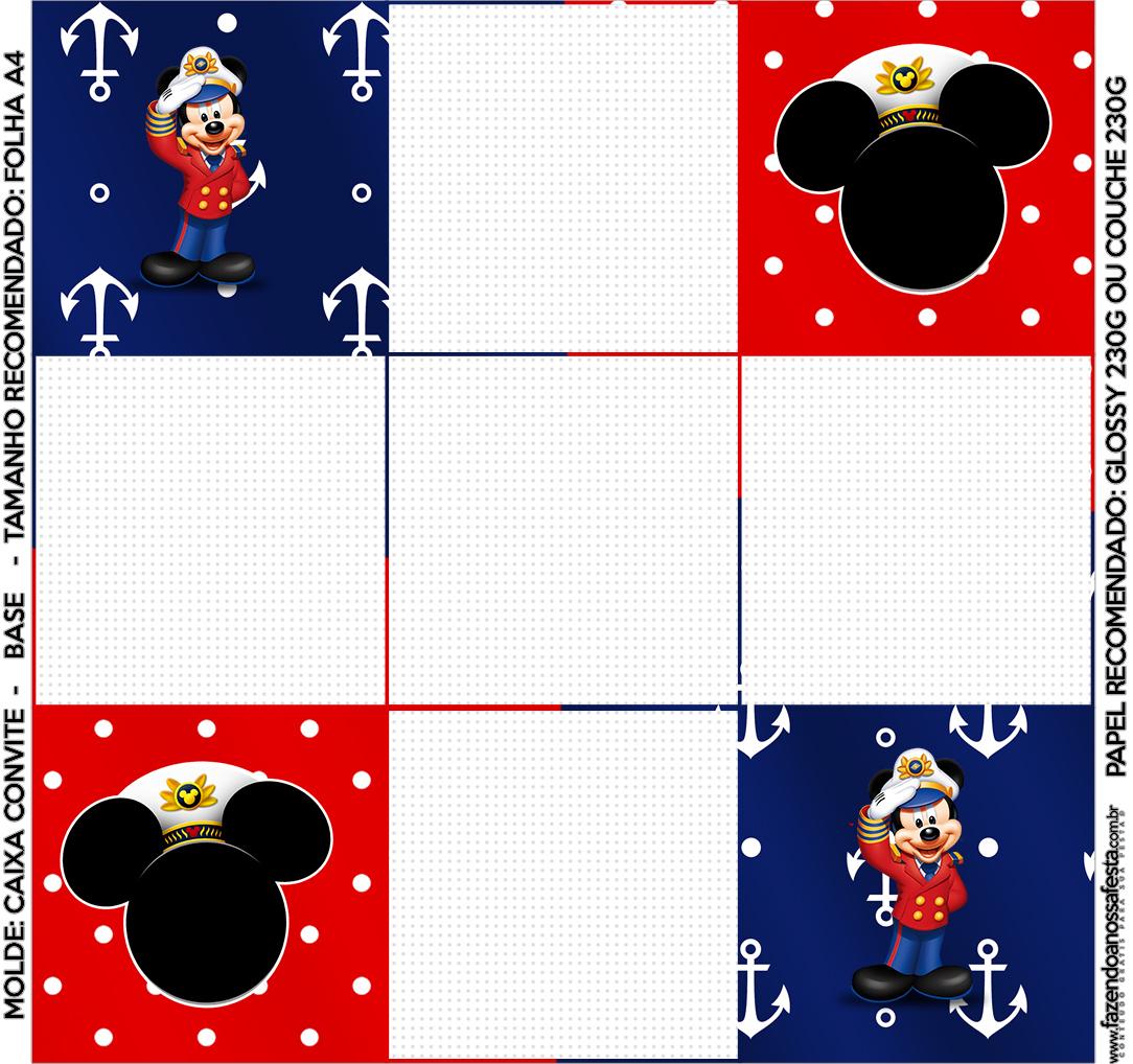 Convite Caixa Fundo Mickey Marinheiro