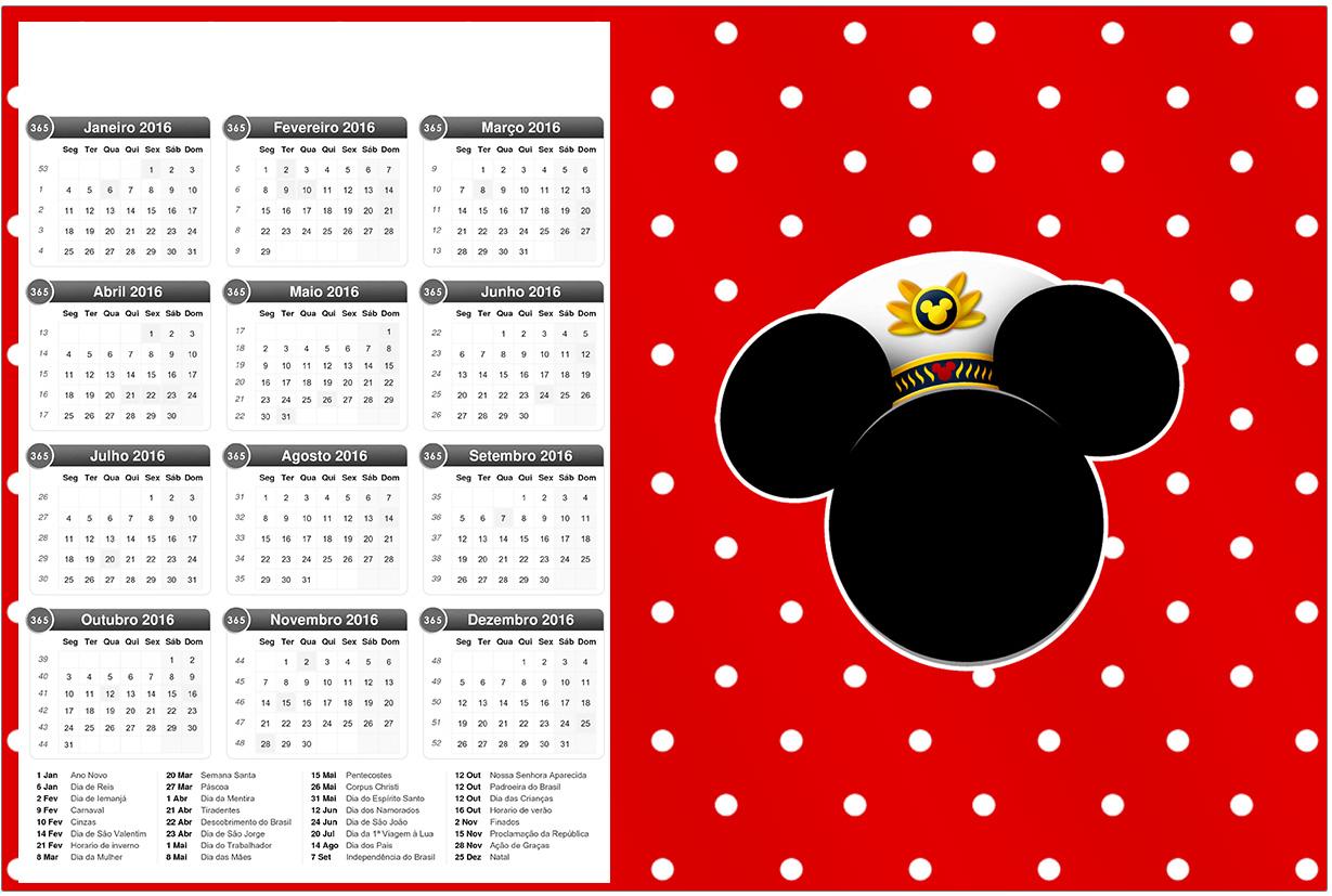 Convite Calendário 2016 Mickey Marinheiro