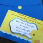 Convite Chá de Fraldas Patinho Amarelo dos Trigêmeos