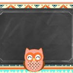 Convite Chalkboard Coruja Laranja Indie
