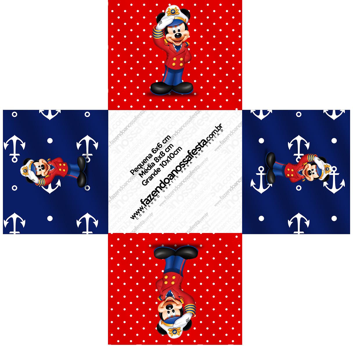 Forminhas Docinhos Quadrado Mickey Marinheiro